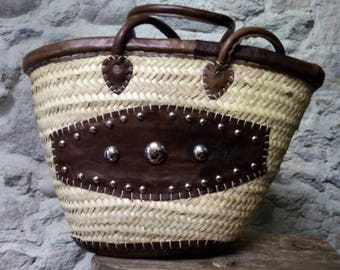 Basket - basket - nature - natural fibers and leather - boho style - hippie chic - gypsy style - Bohemian chic - Beach - Bohemian basket