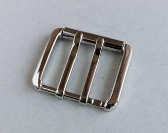 Belt buckle 40mm, made in Italy, ZAMAK belt buckle, nickel finish. Code 11724333