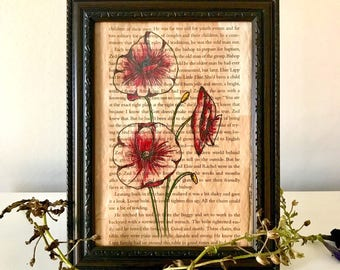Hand-painted, Framed, Acrylic Poppy Flower Painting