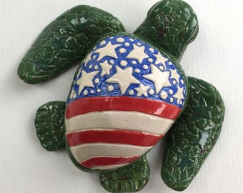 Stars and Stripes Turtle Sculpture IV