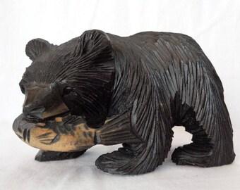 VJ154: Vintage japanese Ainu Hokkaido carving wood  HIGUMA Bear Catch Salmon