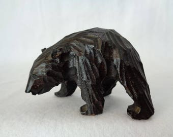 VJ178 : Japanese HIGUMA Bear Ainu Hokkaido carving wood