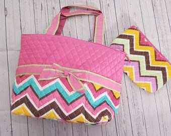 Colorful Chevron diaper bag