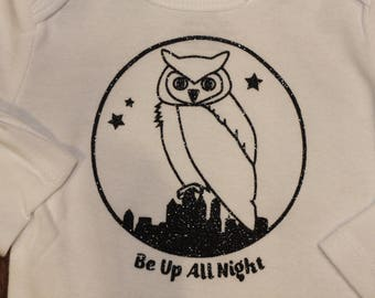 Owl Be Up All Night Onesie - 3-6 months