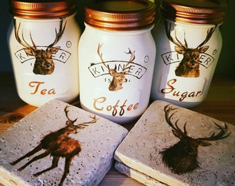 Stag Tea Coffee Sugar Utensils Kilner jars/ kitchen/ house warming/ gift