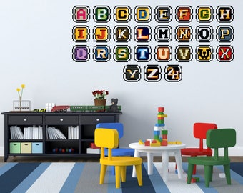 Full color  ABC Alphabet sticker,   ABC Alphabet Decal, wall art decal gc185