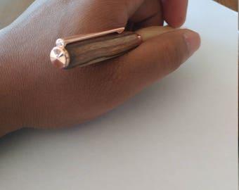 Hand-lathed ergonomic wooden ballpoint pen