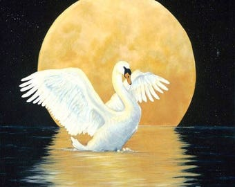Swan Song- Fine Art Original Acrylic Painting on Glicee Print Canvas