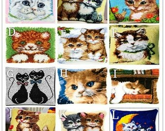 Kawaii Cat Latch Hook Rug Kit DIY Mat Needlework Kit Unfinished Crocheting Rug Yarn Cushion Embroidery Carpet Home Decoration Gift