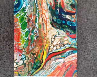 "Abstract Pour Painting Acrylic ""Flow"" 8x10 Original Painting Ready to Hang"