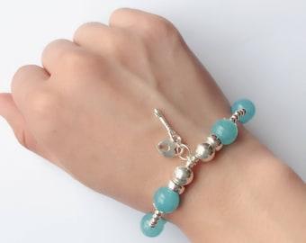 Connection Bracelet - Sea Blue Crystal Bracelet, 925 Sterling Silver Bracelet -Light Blue Crystal Bracelet - Austria Crystal Bracelet