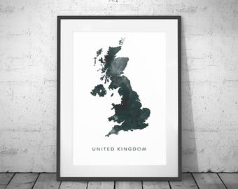 UK Map Watercolour Print, Watercolor Map Art, United Kingdom Map Poster, UK Map Print, UK Map, Travel Poster, Watercolor Map