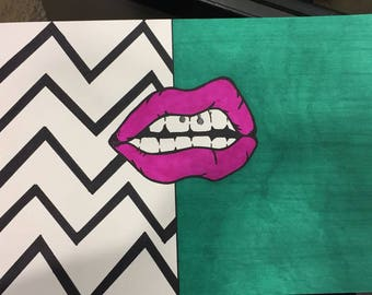 Big Mouth Hand Made Pop Art Picture A4