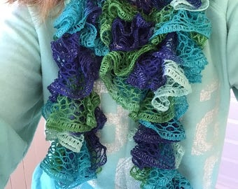 Knitted Ruffle Scarf- Blue, Green