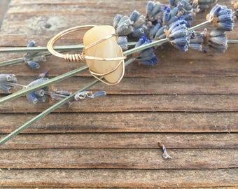 Citrine & Gold **Abundance and Sunshine** 14 k Gold Wire Wrap Ring Size 8