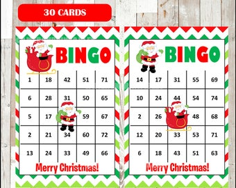 Santa Bingo Printable Game - 60 different Cards - Christmas Game - Party Game Printable - INSTANT DOWNLOAD