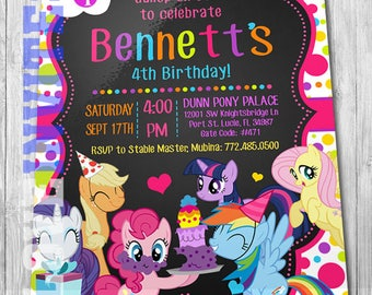 My Little Pony Birthday Invitation with FREE Thank you card!