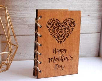 Wooden Mother's Day Gift Card, Happy Mother's Day, Personalised Mothers Day Card, Heart Mothers Day Card, Laser Engraved Heart, Wooden Card