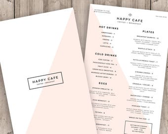 Restaurant Menu Template, Cafe Menu Design, Blush Pink Coffee Shop Logo, Printable Photoshop Template, Instant Download Food Menu Card