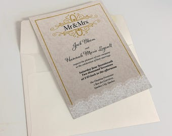 Wedding Invitations, lace, fancy, gold, stationnary