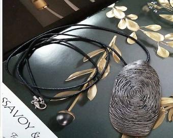 Unique burnished bronze metal fingerprint pendant necklace