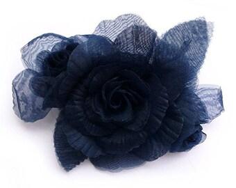 Flower brooch made of organza fabric, Navy Blue.