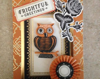 Halloween Card (Frightful Greetings)/Handmade Card/3D/A touch of Floral/Features Cute Owl with Colorful Surrounding Embellishments
