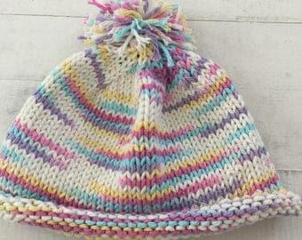 Hand Knit Baby/Toddler Hat, White, Rainbow, Beanie, Pom Pom