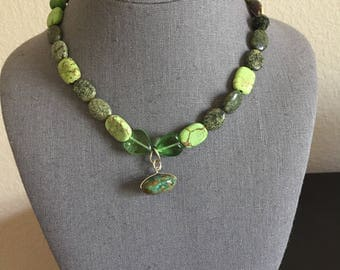 Green variegated  stone necklace with mosaic turquoise pendant