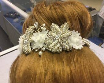 Lace embellished chiffon flower Diamante and crystal headress