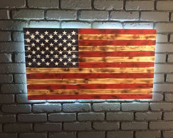 Wood American Flag Wall Art large wooden american flag with multi-color led backlighting