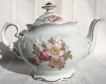 Magnificent Briar Rose Teapot - Schumann Arzberg Germany - Golden Crown E&R 1886