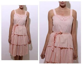 vintage 1970's 70's pastel pink cotton sun dress butterfly embroidery cutout lace ruffle tiered scalloped S-M