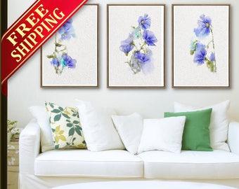 Flowers Blue, Set 3, Home Decor, Abstract Flower, Gift - Living Room, Blue Flowers, Blue Color, Home Decor, Flower, Gift Idea, Decor  (MX22)