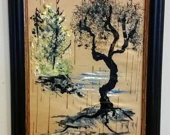 Birch Bark Painting - Trees