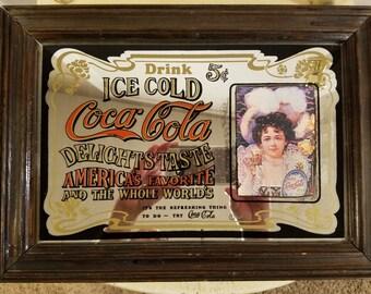 Vintage Coca Cola Mirror Pub Picture