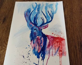 Deer painting, ORIGINAL painting, watercolour stag, colourful, gift, wall decor, A4