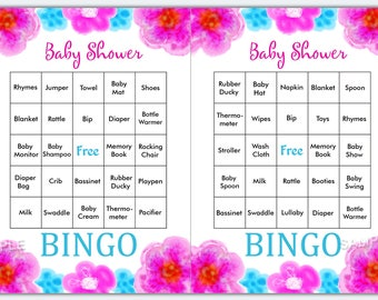Floral baby shower bingo, watercolor flowers baby shower bingo, floral baby shower bingo cards , Printable Blank Bingo Cards & PreFilled