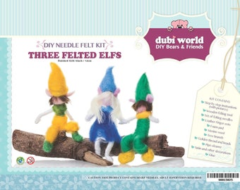 DIY Craft Needle Felt Wool Kit -Three Felted Elfs Unique Gift & Family Time