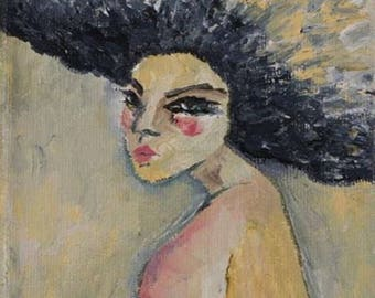 Woman With Afro, Print on Canvas, Art Collectibles, Afro Art Gift, Colorful Art, Wall Decor, Wall Art, Digital Prints, Art Print, Sagit Art