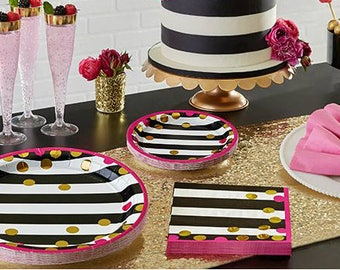 Pink, Black, and Gold Confetti Baby Shower