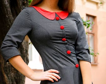 grey aned red jersey dress