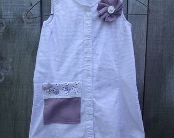 Hand made Upcycled Girls dress from a ladies shirt.  Purple, Lilac Dress with Flower and butterflies, Age 3T