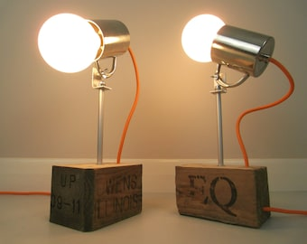 Cup Lamps - Lamps | Table Lamps | Bedside Lamps | Desk Lamps | Up-cycled lamps | Pallet Lamps | Pair of Lamps
