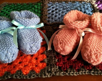 Handknit Baby Booties | Birth-3 months| 4ply Baby Wool