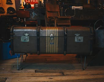 Vintage Olive Green Suitcase Coffee Table with Hairpin Legs, Trunk with Storage, Wood and Metal Details
