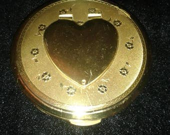 Vintage KIGU Gold Love Heart Photo Locket Powder Compact