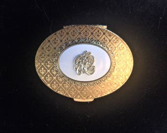 RARE!! Jacqueline Cochran Fleur- de- lis L'Opera Compact (Unused and in new condition) 22-carat gold finish