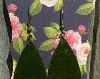 Dark Green Leather Earrings