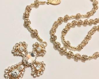 Rose Gold Rhinestone Rosary | Wedding | Bridal Bouquet | Catholic Gifts | Bride to Be